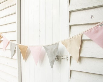 2m Handmade Bunting Flags: Gold, Pink & Grey - Party Wedding Child Bedroom Decor