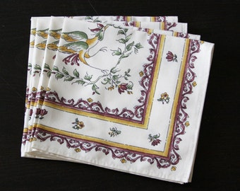 Set of 2 Cotton Napkins Provence Moustiers Birds in Raspberry Red  -  Set of 2 - 4 - 6 or 8 Napkins -
