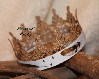Lace crown, puppy crown, dog crown, pet apparel, dog clothing, dog hat, silver dog crown, gold dog crown, cat crown