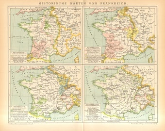 1895 Original Antique Historical Map of France, 12th-18th Century