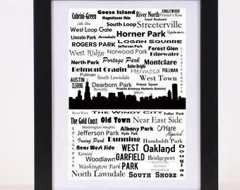 Chicago Communites and Neighborhoods Skyline Poster The Windy City