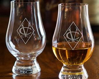 Personalized Glencairn Whisky Tasting Glasses - Set of 2 - Engraved Monogram or Logo Included