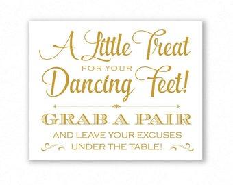 Gold Matte Printable Dancing Shoes Sign, Wedding Sign, Little Treat For Your Dancing Feet, Flip Flops Sign, #DA12G