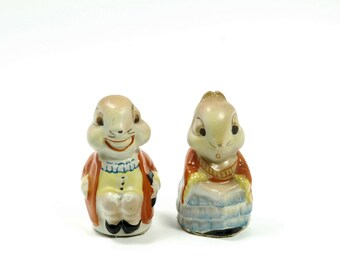 Vintage Salt and Pepper Shakers Mr and Misses Rabbit Porcelain  Made in Japan