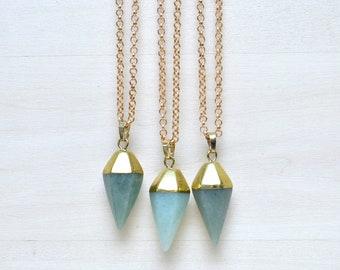 Aventurine Pendulum Pendant Necklace/ Aventurine Pendulum Gemstone Necklace/ Pendulum Geometric Pendant Necklace Fashion (EP-NPG19-AV)