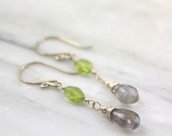 Peridot and Labradorite Dangle Silver Earrings
