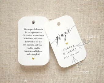 Grazie Sugared Almonds Personalized Gift Tags - Jordan Almond Favor Tags - Wedding Favor Tag Bomboniere - Set of 20 (Item code: J735)
