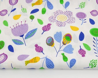 Fabric 100% cotton purple flowers, leaves on white 50 x 160 cm, 100% cotton printed accessories.