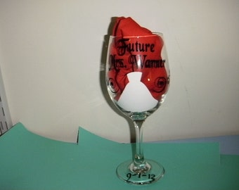 Future Mrs. Wine Glass with swirls and dress