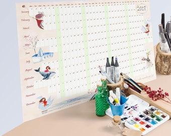 large wall calendar, one-page calendar, 2018 art calendar, yearly wall calendar, 2018 wall calendar, poster calendar, homeschool calendar