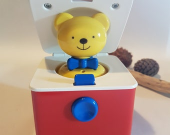 Vintage Ambi Toy Bear Push Button Jack in the Box, Vintage Toys and Games, Vintage Nursery, 1970s Bear in a Box Pop-Up