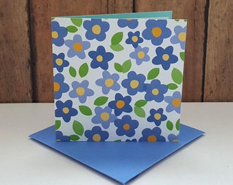 Flower Mini Cards, Blue Flower Cards, Small Note Cards, Flower Gift Tags, Blank Note Cards, Mini Envelopes, Set of 4