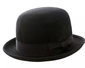 Bowler hat black soft made of wool