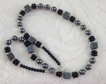 Black Grey Necklace, Hematite Necklace, Gemstone, Birthday Gift,  Anniversary Gift, Gift for Her, Wife Gift, Gift for Mum
