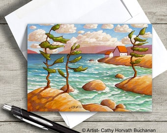 Windy Waves Seaside Art Card, Northern Coastal Cottages 5x7 Greeting Card Art, Gift Suitable for Framing, by artist Cathy Horvath Buchanan
