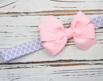 Pink Bow Headband - Newborn Bow Headband - Baby Bow Headband - Pink and Grey Headband