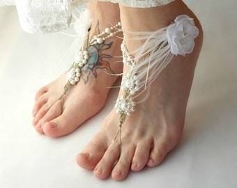 Beach Wedding Sandals, Barefoot Sandals, Bride Sandals, Bridesmaid Sandals, Pearl Wedding Shoes, Ostrich Feather Detail, Custom Color Option