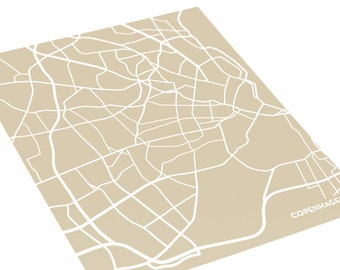 Copenhagen Poster City Print / Denmark Map Geometric Wall Art / 8x10 Digital Print / Choose your color