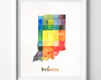 Indiana Map, Indianapolis Print, Indiana Poster, Indianapolis Map, Watercolor Map, State Art, Giclee Art, Home Decor, Fathers Day Gift