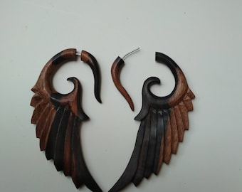 Sono Wood patterns wings ilution Hangers Fake Gauge Earrings Pair of Natural Brown Organic   long style
