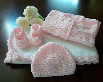 Pink Crochet Baby Blanket Afghan Set, Pink Baby Cardigan, Pink Baby Hat, Pink Baby Booties, Pink Beanie Set, I Love Grandma Baby Blanket