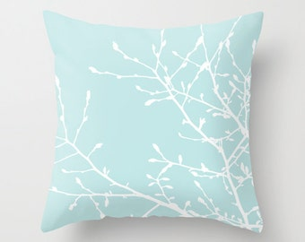 Magnolia Tree Branches Pillow  - Pastel Blue and White - Modern Home Decor - By Aldari Home