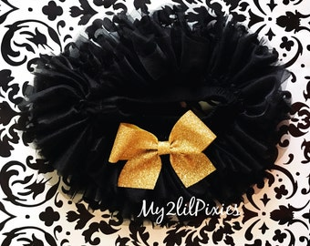 Black Tutu Bloomer ruffles all the way around,Gold Bow Bloomer, Chiffon Baby Bloomer, Diaper cover, newborn tutu bloomer-ready to ship