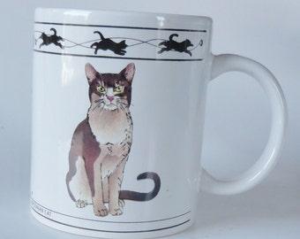 1 Vintage 2 Sided Cat Mug - Abyssinian Cat & Brown Mackerel Tabby Siberian Cat - Kitty Cat Lover Gift, Pussy Cat Cup, Kitten, Birthday Gift