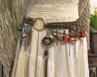 Gypsy Belt // Gold Chain Belt // Layered Belt // Handmade Gold Chain Belt // Charm Belt Gold // Bib Belt OOAK