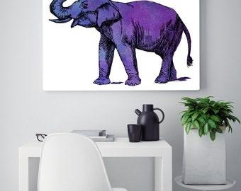 Purple Elephant print, elephant wall art, elephant illustration
