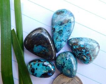 5 Pcs Lot!!! Beautiful Blue Azurite Cabochon Stone - Lovely Azurite Gemstone For Jewelry Use 80.80Cts. (AB-48)