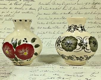 Vintage handmade artist small pottery vase set of two Polish flower design gray olive dark red pot vase  miniature 1980