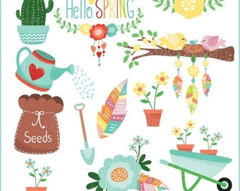 50%OFF Spring clipart, clipart, Spring illustrations, commercial use clipart, floral clipart, garden clipart, bird clipart, feather clipart,