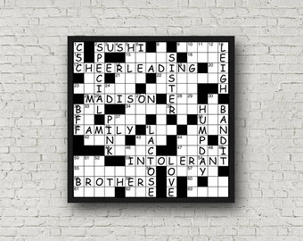Custom Crossword Digital Print - Family Names, Descriptive Words, Etc...