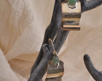 Sterling Earrings with Aventurine Bead. FREE SHIPPING