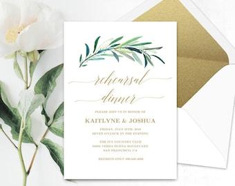 Printable Wedding Rehearsal Dinner Invitation Card Template, Eucalyptus Greenery Rehearsal Dinner Card, 5x7 inches, Eucalyptus Gold