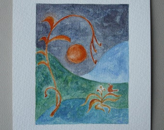 Original Watercolor Painting - Bird, Moon, Plant