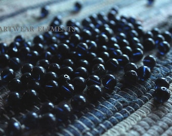 Vintage Semi Opaque Dark Blue Beads, 8mm, Sold Per 5, Old Vintage Stock Beads, Limited, Vintage Beads, Beads, ArtWear Elements