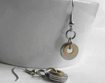 Simple Round Steel Earrings, Circle Jewelry, Mixed Metal Earrings, Brass and Silver, Stainless Steel, Industrial Jewelry, Steampunk