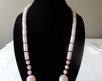 Vintage Pink Moonglow Lucite Necklace and Earrings