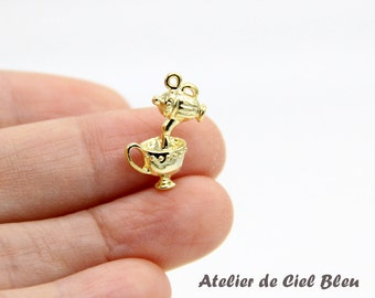 Teapot Charm, Alice in Wonderland Teapot Charm, Gold Teapot Charm, Alice Charm, Tiny Teapot Charm, Teapot and Cup Charm