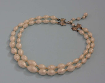 Two Strand Faux Freshwater Pearl Necklace - Vintage Costume Jewelry