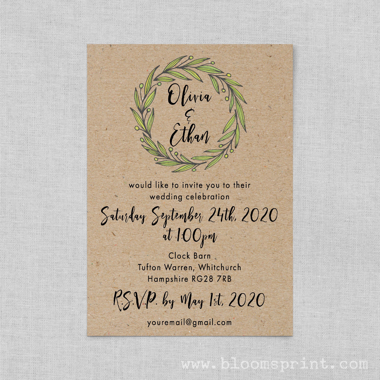 Rustic barn wedding invitations recycled paper, Kraft wedding invite ...