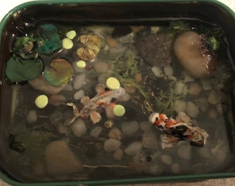 Miniature Tin Polymer Clay coi pond