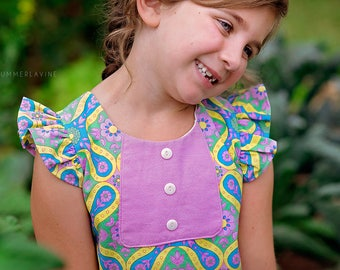 Girls flutter sleeve dress - toddler girls dress for summer - toddler girls clothes for summer - girls vintage style dress - girls dress