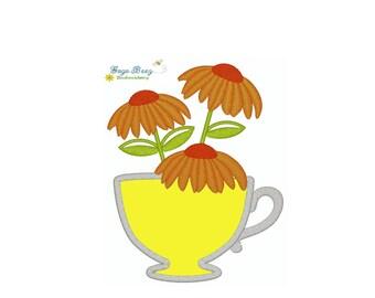 Black Eyed Susan teacup Black-eyed Tea Cup Towel Digital Machine 4X4 Applique Embroidery Design