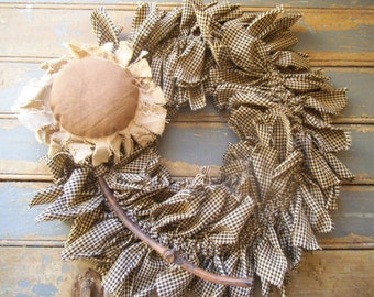Sunflower,  Sunflower Wreath, Rustic Wreath,  Rag  Wreath,  Primitive Sunflower, Primitive Wreath, Rustic Door Wreath,  Gingham