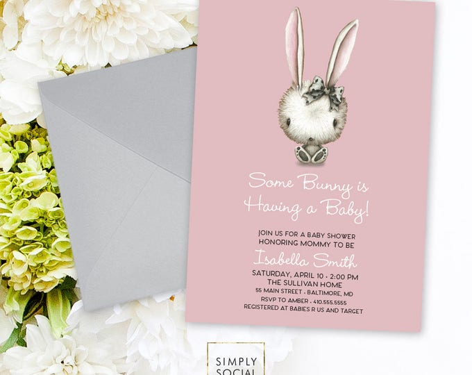 Bunny Baby Shower Invitation - Some Bunny It's a Girl Watercolor Rabbit Modern Baby Shower Pink Invitation Bow Printable