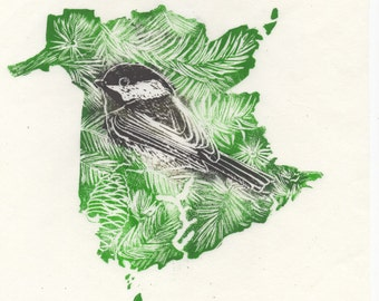 New Brunswick, Black-Capped Chickadee and Balsam Fir linocut - Handprinted Maps Provincial Symbols - Provinces & Territories of Canada