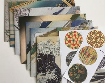 japanese envelopes and stickers, stationery, snail mail  japanese style, handmade envelopes, set of 7, patterned, spring